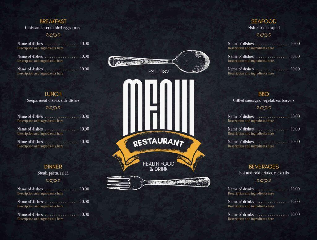 liste de menus limitée